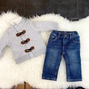 Baby boy sweater and jeans bundle 6 months.